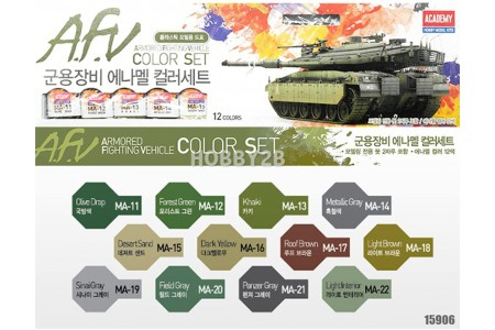 Armored fighting vehicle Enamel paints set (12 colors)