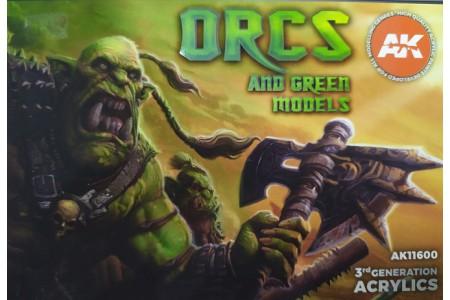 Acrylic paint set: Orcs and Green models