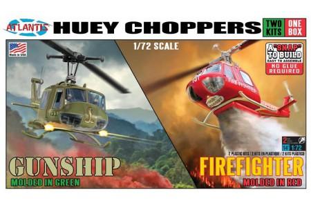 1/72 Huey Choppers UH-1B Gunship & Fire fighter (2 kits 1 box)
