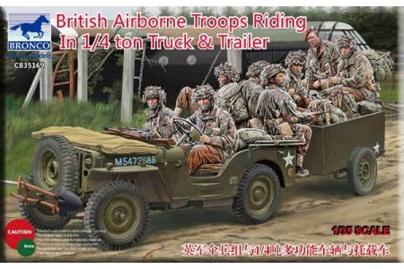 1/35 British airborne troops riding in jeep and trailer
