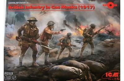 1/35 British infantry in gas masks 1917