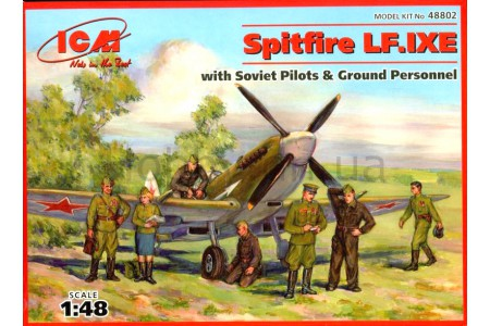 1/48 Spitfire MK LF IXE with Soviet pilots and crew