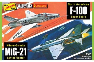 1/72 F-100 vs MiG-21 Battle Damaged (2 kits)