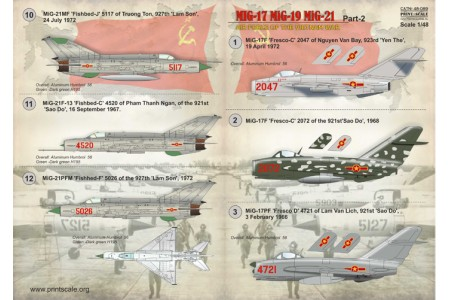 1/48 Vietnam MiG-17 MiG-19 MiG-21 decal Part 2