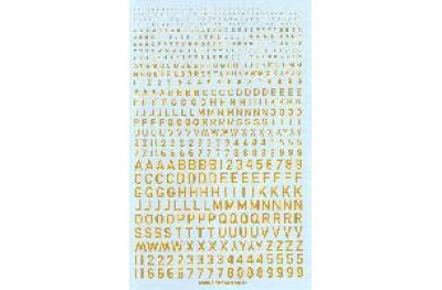 Numbers and letters yellow colour