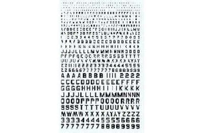 Numbers and letters black color type 45