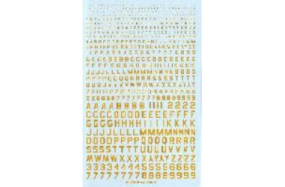 Numbers and letters yellow color type 45