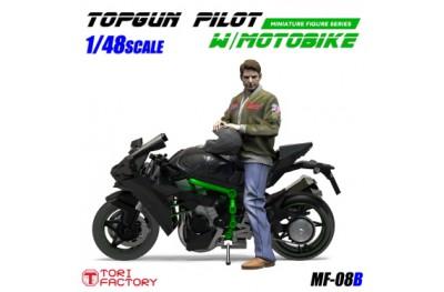 1/48 Top Gun pilot with motorbike